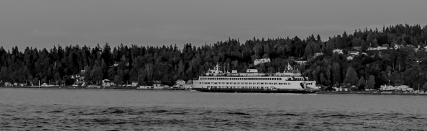 Washington Ferry System.  I used a red filter on my lens for the Black and White