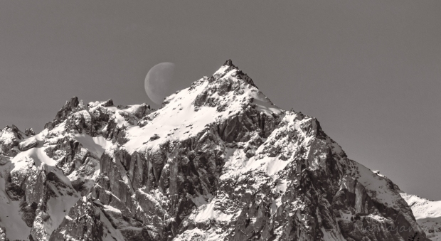 Mt. Constance with moon. Right place at the right time.