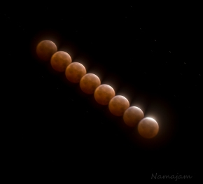 Blood Moon, Interval Composite (in camera) 2 min apart, 9 sec each.  A little too long on the exposure...lessons learned.