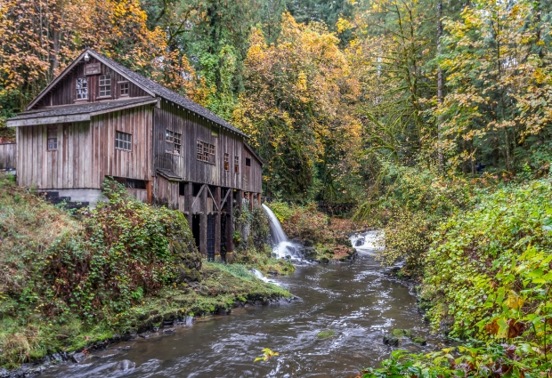 Cedar Creek Grist Mill, still work, huge pulleys and belts spinning above and below are turning and churning to produce flour, corn meal and apple cider. Excellent cider!