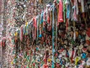 Part of the gum wall. Located near the Pike Place Market, an entire brick wall where people stick their gum...nasty but colorful.