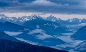 Olympic Mountains in the morning. Viewed from Hurricane Ridge.